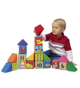 Children play block toys