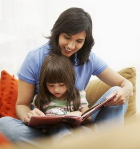 Mother read book for kid