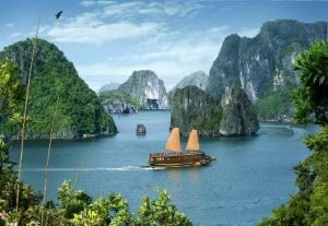 Imposing landscape of Halong bay